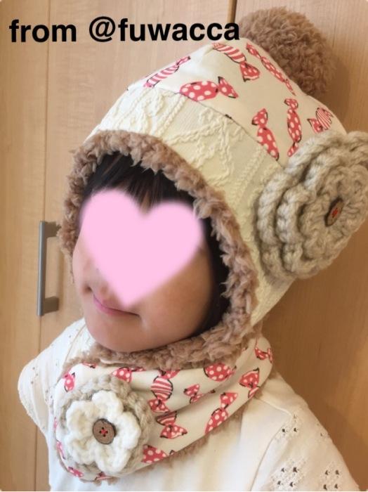 fuwacca プレゼント企画 当選品 ニット帽 マフラー 長女着画