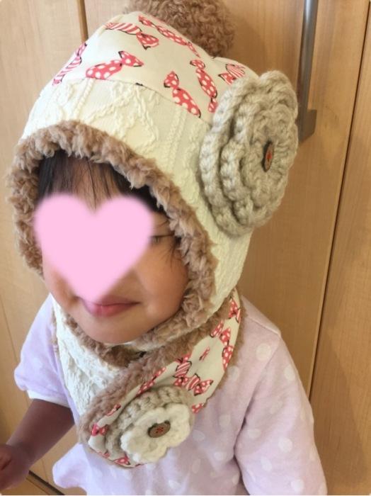 fuwacca プレゼント企画 当選品 ニット帽 マフラー 次女着画
