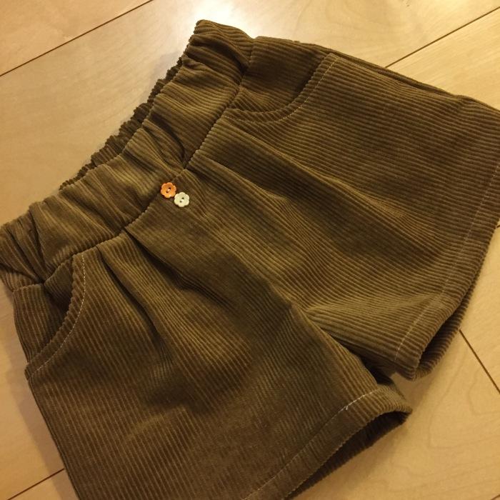 Snuggle 2wayタックパンツ ショート丈 120 フレンチコーデュロイ 太畝