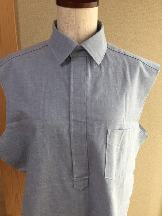 ichica メンズプルオーバーシャツ 衿つけ