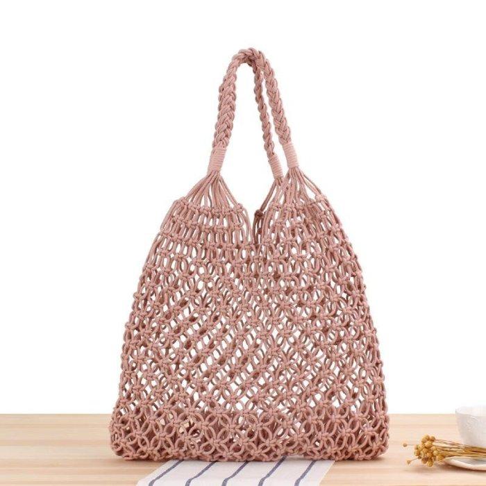 ピンク ハンドメイド Baginning 編みバッグ