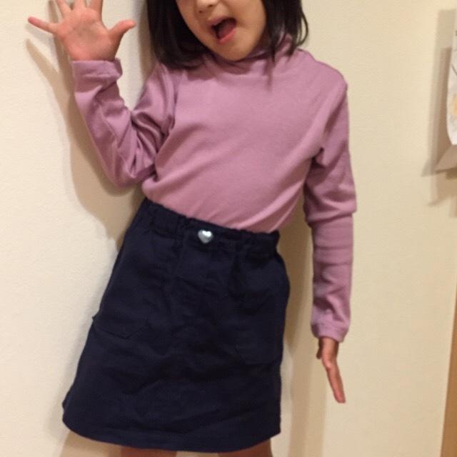 まいにち着る女の子服 ハイネックTシャツ 120