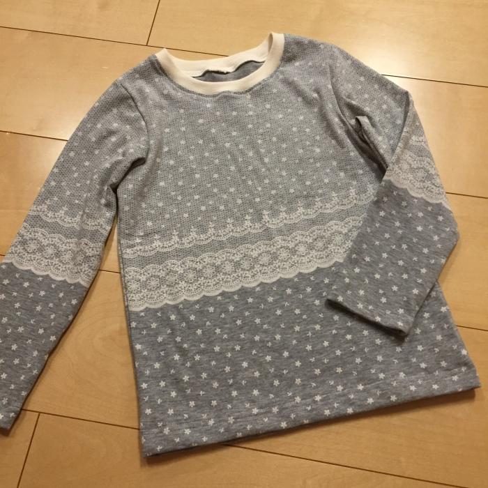 まいにちTシャツ 120 長袖 パネルレース柄